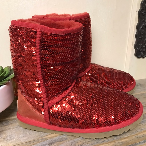 bf43367988c Ugg Class Short Boot Red Sequins 9